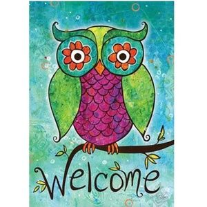Garden Flag- NEW- Colorful Owl Welcome